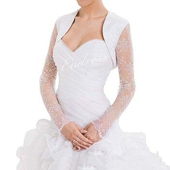 Biała kość słoniowa kobiety satynowa kurtka ślubna ślubna kurtka z koronką Bridal Wrap wzruszając ramionami Bolero z długim rękawem