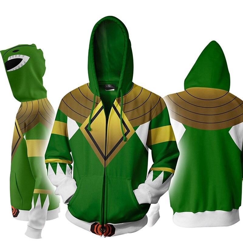 Cosplay Power Rangers Hooded Cardigan Hoodies Casual Zip Hoodie 3D Print Sports Sweatshirt Men's Harajuku Streetwear Jacket Coat