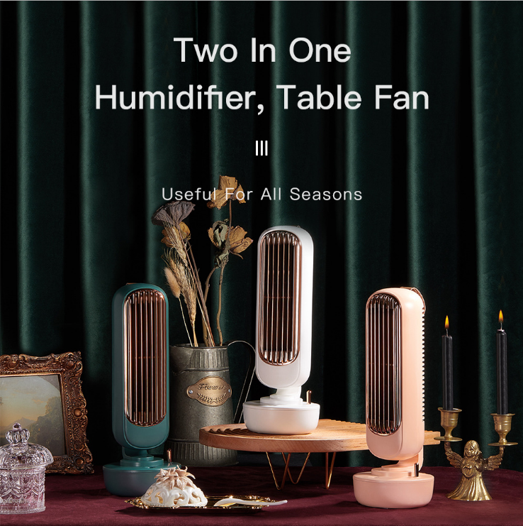 Humidification Tower Fan USB Multi-function Electric Fan Replenishment Air Cooling Desktop Fan For Office Home White Green Pink