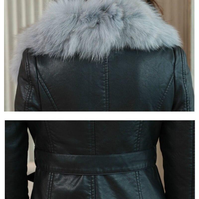 Купить женская кожаная куртка на зиму 2021 новое бархатное теплое облегающее