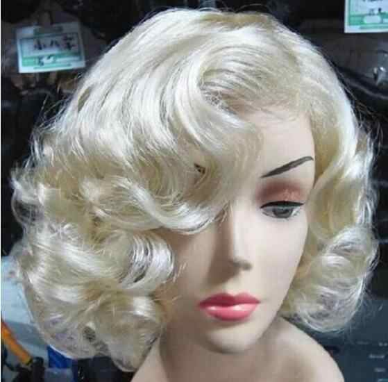 Jewelry Wig  Marilyn Monroe Fashion Curly Wig Cosplay Hair Full Wigs Hot Style Short Blond Free Shipping