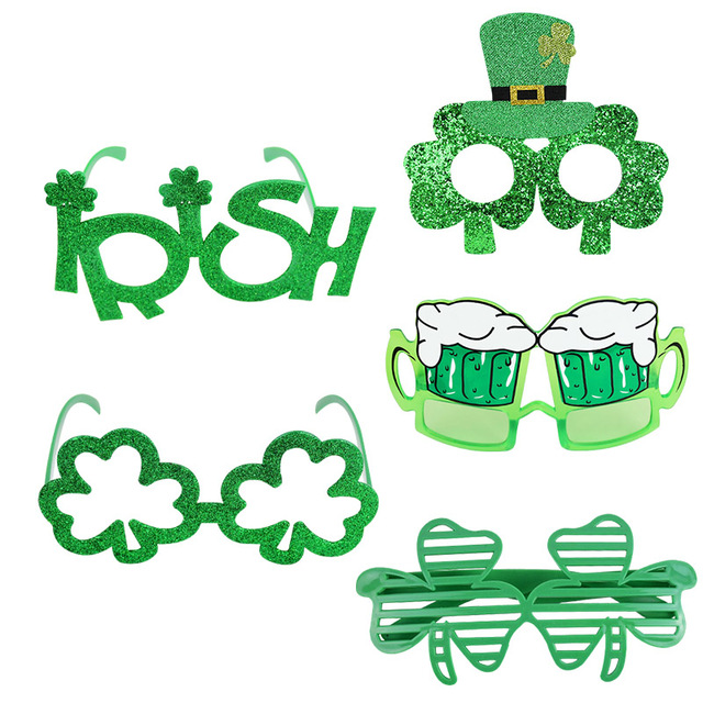 Saint Patrick's Day Props Green Clover Glasses Accessories Ireland Festival Dress Up Photobooth for St. Patrick Party Decoration 1