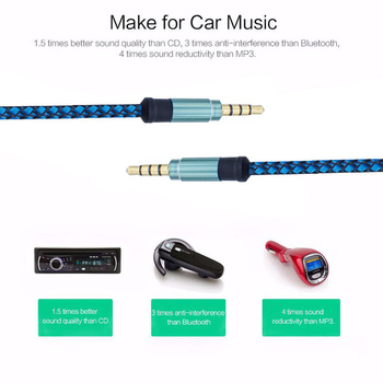 New Nylon 1.5m Jack Audio Cable 3.5 mm to 3.5mm Aux Cable Male to Male Kabel Gold Plug Car Cord for iphone 7 Samsung for speaker image
