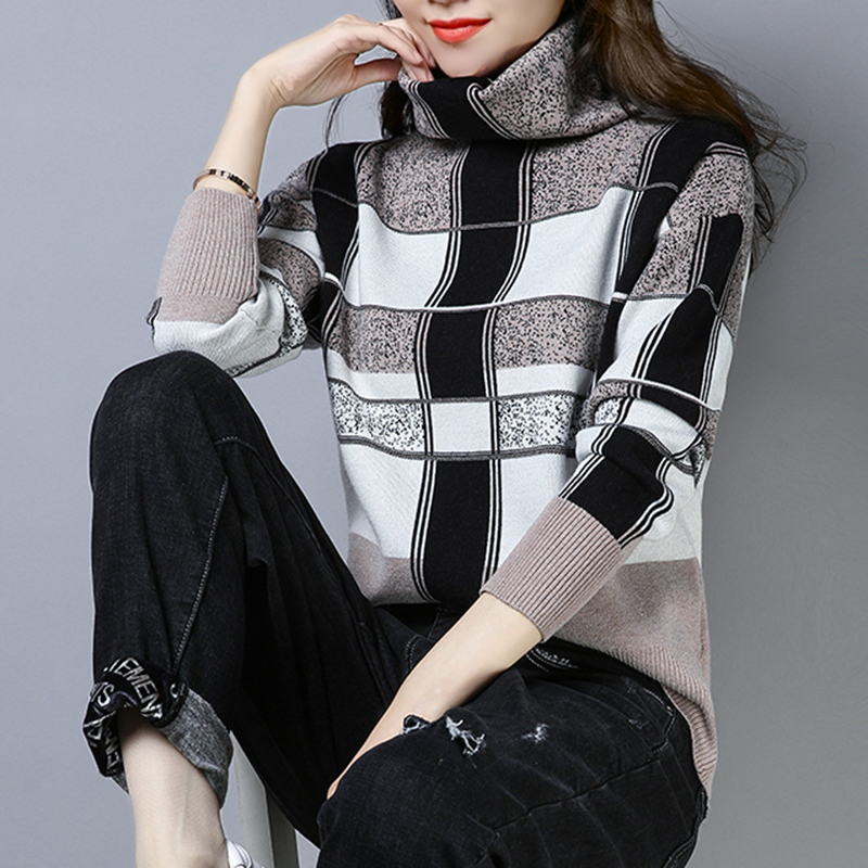 Plaid Sweater Turtleneck Pullover Woman Winter High Quality Soft  Pile Collar Plus Size High Collar Knitted  Female Ethnic Style