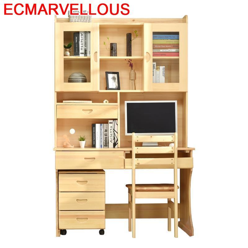Furniture Scrivania Bed Tray Tafelkleed Escritorio Biurko Tisch Tafel Vintage Wooden Desk Laptop Stand Mesa Table With Bookshelf