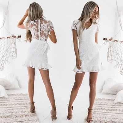 Kurz elegant weiß kleid Kleid Elegant
