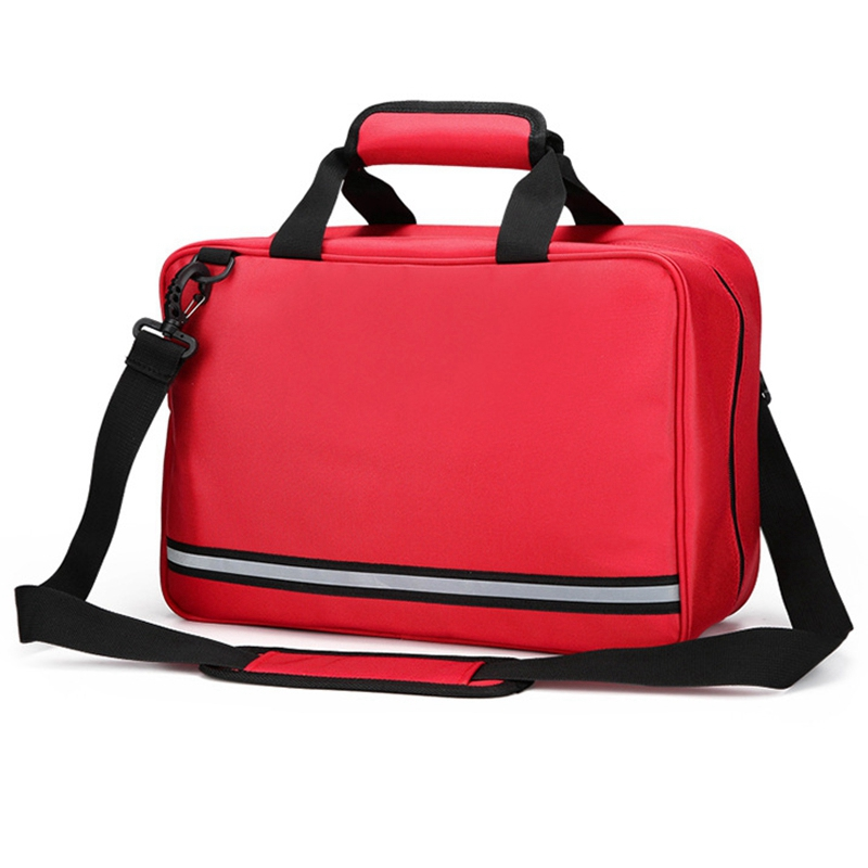 Red Empty First Aid Bag Cars Bag First Aid Emergency Survival Kit For Camping Travel Bag Large Size (39X16X26cm)