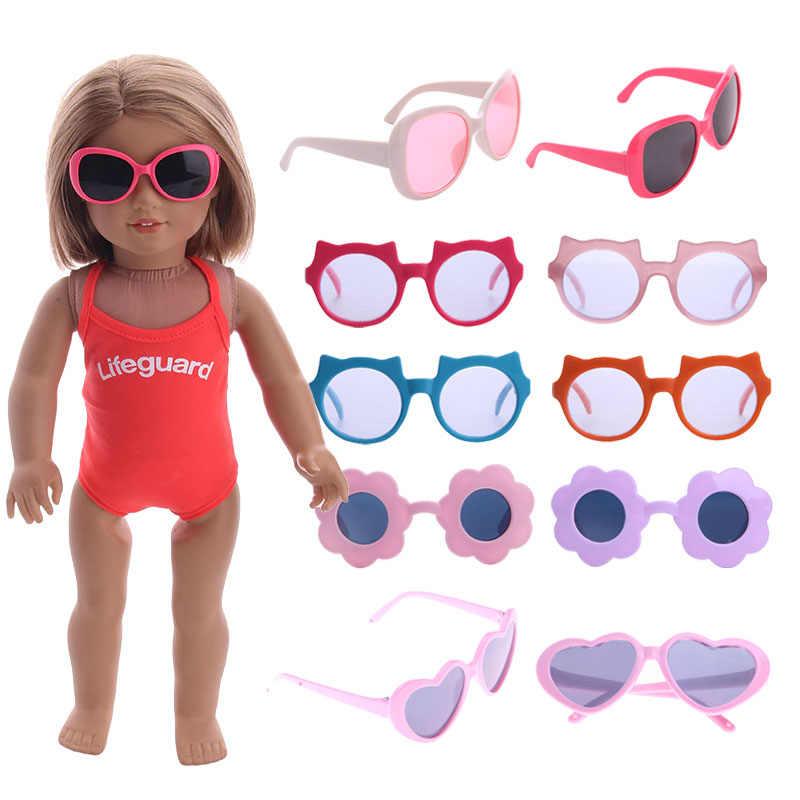 Bebek 15 stilleri gözlük güneş gözlüğü 18 inç ve 43Cm doğan bebek amerikan bebek giysileri aksesuarları üretimi, kız rusya oyuncak hediye