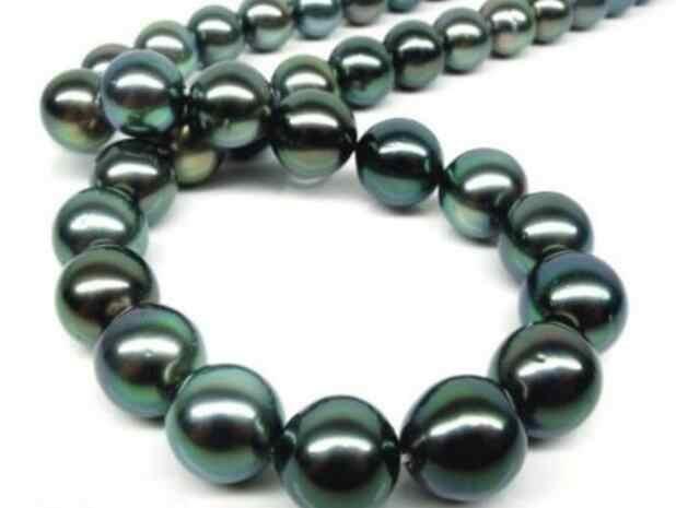 ジュエリー真珠のネックレス女性のギフト 17 インチゴールドクラスプ完璧な光 AAAA 12-13 ミリメートルリアルタヒチアン本物のブラック peaco 送料無料
