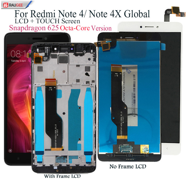 Ekran Xiaomi Redmi için not 4 LCD ekran dokunmatik ekran değiştirme Redmi not 4X Snapdragon 625 Octa çekirdek ekran 5.5