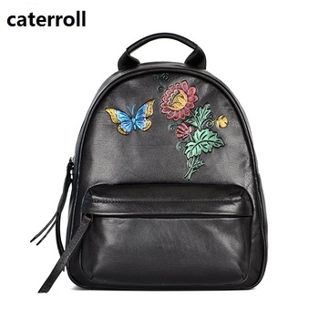 floral women backpack genuine leather bagpack cow leather ladies travel bags 2019 new real leather double shoulder bag