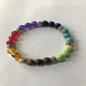Image 5 - OAIITE Trendy 7 Chakra Round Beaded Natural Stone Bracelet  For Women Men Healing Balance Therapy Yoga Jewelry Prayer Adjustable