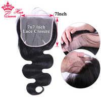 Queen-productos para el cabello, cabello humano brasileño con cierre de encaje, Onda de encaje, 16, 18 y 20 pulgadas, Remy, Color Natural, 7x7