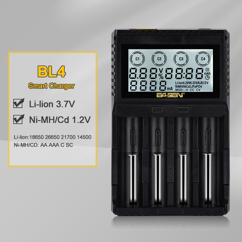 18650 battery charger 3 7V 18650 21700 lithium 1 2V AA AAA NiMH rechargeable batteries LCD smart charger with DC 12V 2A port