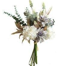 Luksusowe szare kwiaty Dahlia ręcznie z eukaliptusem ręcznie trawy do dekoracji ślubnych domu sztuczne kwiaty