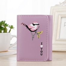 Korean Version Ladies Small Fresh Wallet Leather Cartoon Printing Cute Short Card Pack Coin Purse