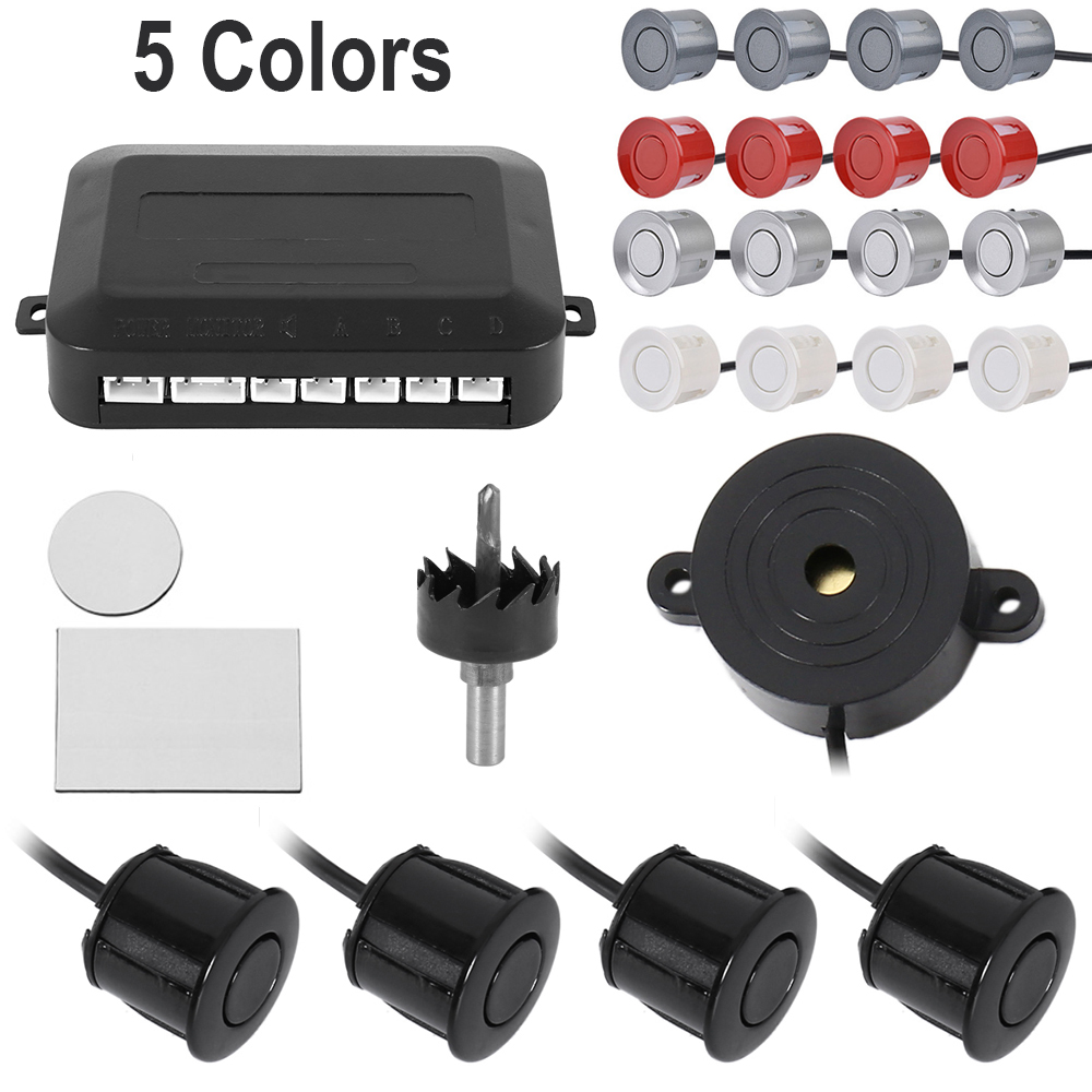 12V 5 Colors Car Parking Sensor With 4 Sensors Buzzer 22mm Kit Reverse Backup Radar Sound Alert Probe Warning System