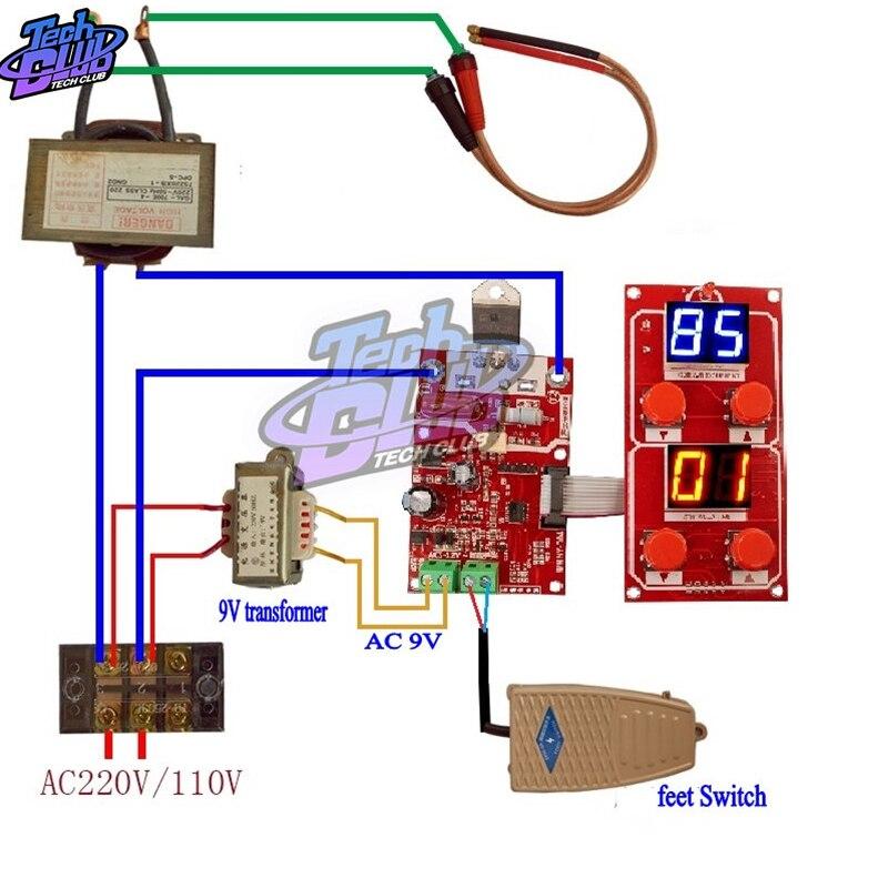 NY-D04 40A 100A double affichage soudeuse par points réglable contrôleur de courant de temps Machine de soudage par points AC 9V transformateur conseil de commande