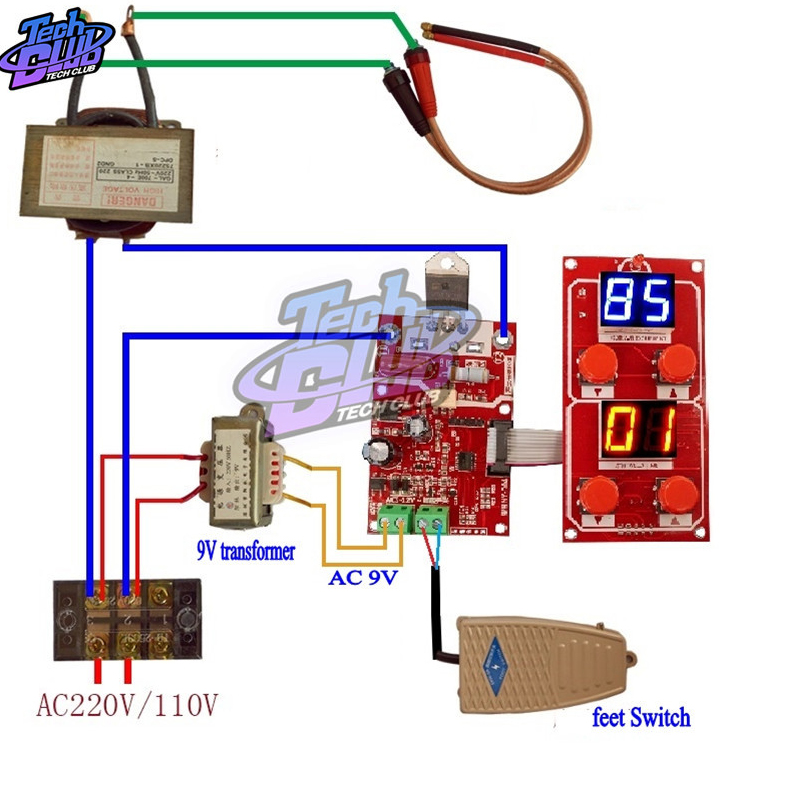 NY-D04 40A 100A Dual Display Spot Welder Adjustable Time Current Controller Spot Welding Machine AC 9V Transformer Control Board