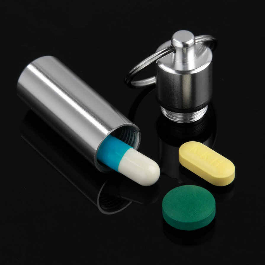 مفتاح حامل الألومنيوم مقاوم للماء حبة على شكل صندوق زجاجة حامل الحاويات المفاتيح الطب كيرينغ صندوق المفاتيح