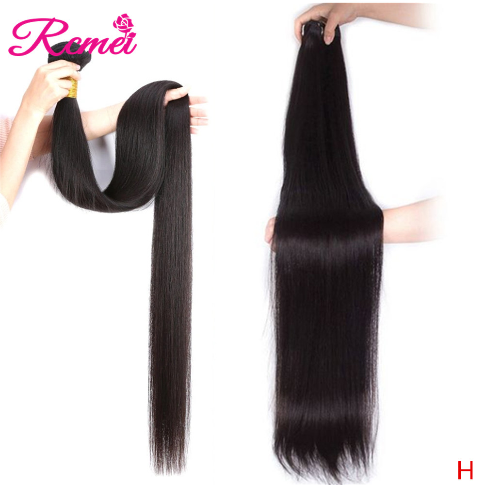 Rcmei Brazilian Straight Human Hair Weft 1/3/4 Bundles Deal 30 32 34 36 38 40 Long Hair Weaving Natural Black Remy Hair