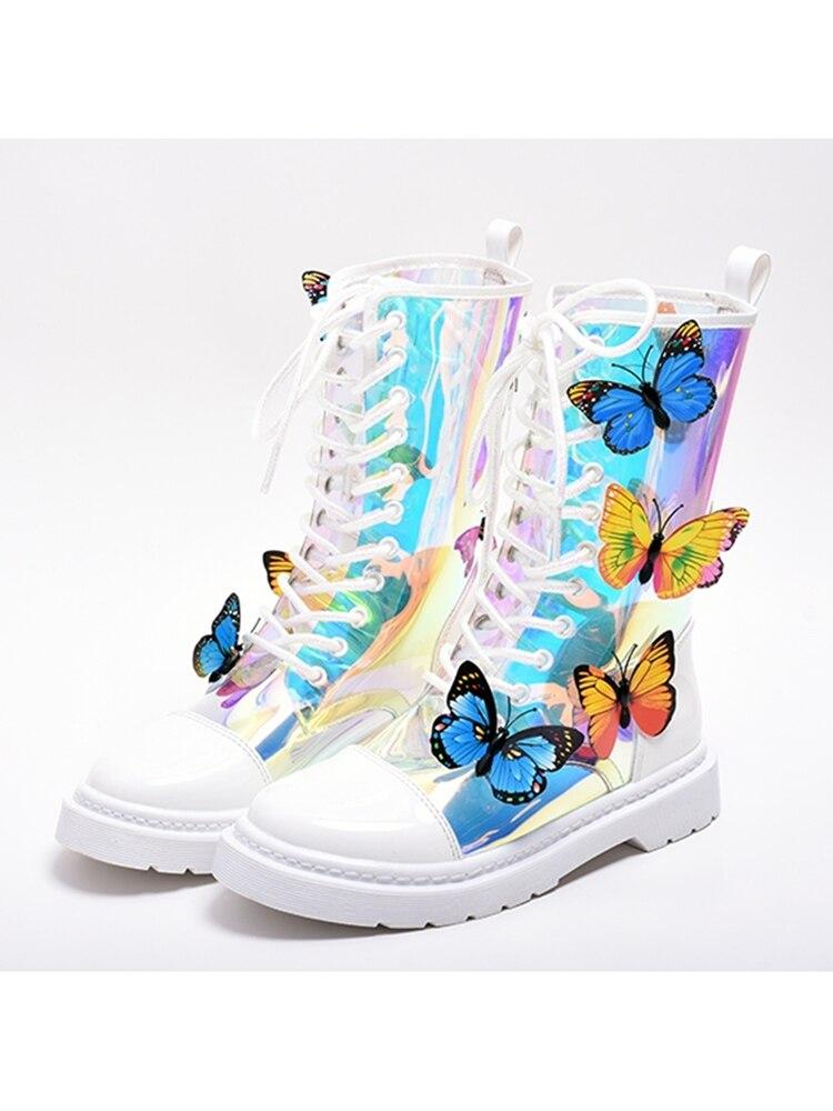 2020 Новое поступление ботинок прозрачные Красочные бабочки плоские короткие ботинки с круглым носком на рифленой подошве на шнуровке Новая ... - 6