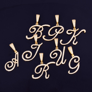 Image 4 - Zircon Cursive letter Necklaces & Pendant For Men/Women Gold Color Fashion Hip Hop Jewelry with 4mm Tennis Chain