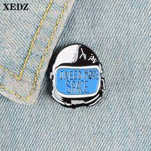 Xedz шлем космонавта эмалированная булавка для путешествий Космос