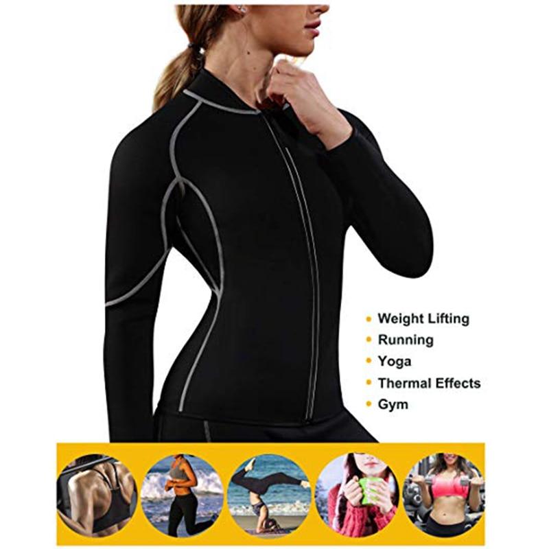 Women Sweat Neoprene Weight Loss Sauna Suit Workout  Body Shaper Fitness Zipper