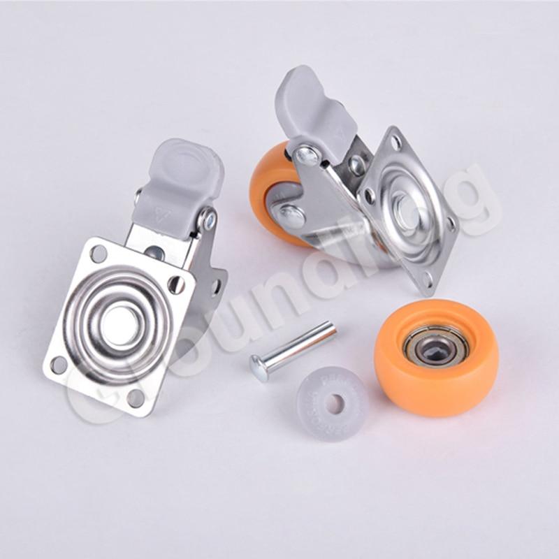 4 pçs/set rodízio de móveis giratória 1.5 polegada resistente 120kg laranja rodas rodízio rodízio ultra silencioso náilon rodas-4