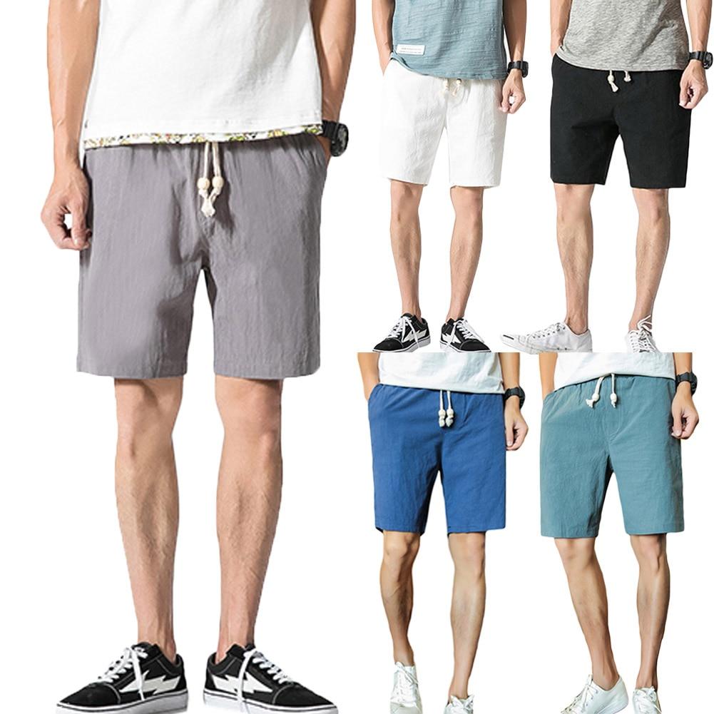 Mens Summer Shorts Cotton Linen Solid Drawstrings Waist Short Running Sports Jogging Fitness Shorts Casual Quick Dry Pants