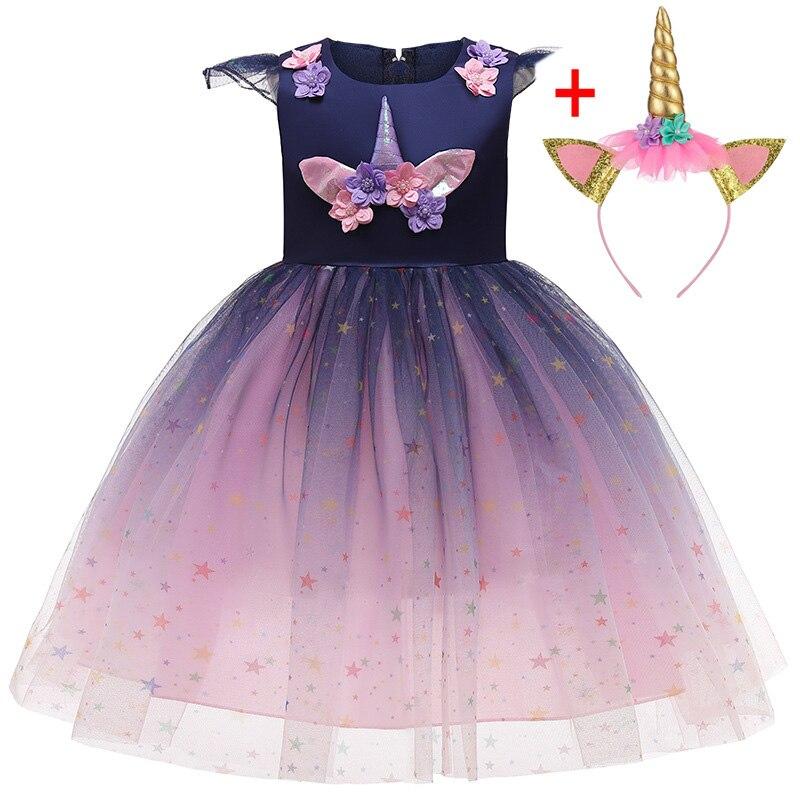 Lzh halloween crianças unicórnio vestido de festa carnaval trajes crianças princesa vestido de aniversário meninas vestido roupas 3 4 5 6 10 ano