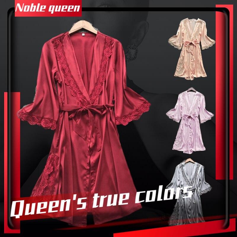 Sexy Sleepwear Lingerie Women Fashion Sexy Nightwear Satin Lace Temptation Belt Underwear Nightdress Silk Nightgown Home Wear