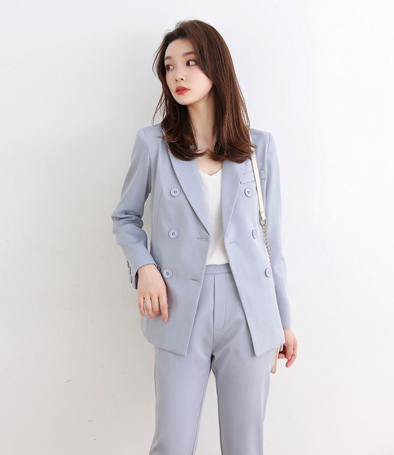 Double Breasted Women Pant blazer two pieces set Suit Long Sleeve Jacket & Pencil Pants Blazer Set Ladies 2 Pieces Set JK405