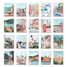 Мультфильм Известный Городской Пейзаж Плакат и принты в римском стиле Дубай Токио холст Картины для украшение дома Куадрос фотографии
