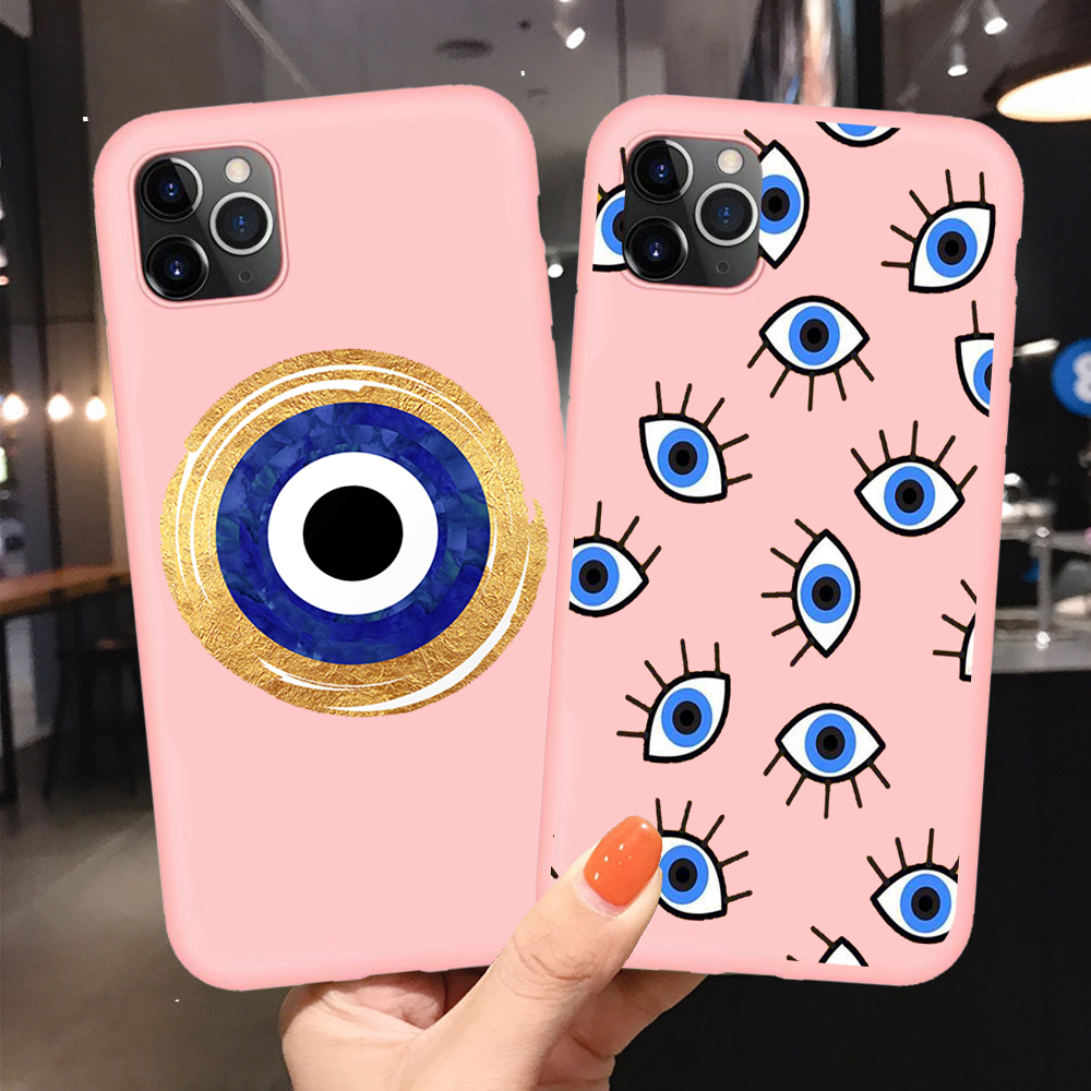 Fashion Evil eye High Quality Pink Soft Silicone Phone Cases For iPhone 11 Pro Max 6 6S Plus 7 8 Plus X XR XS MAX SE 2020 Cover