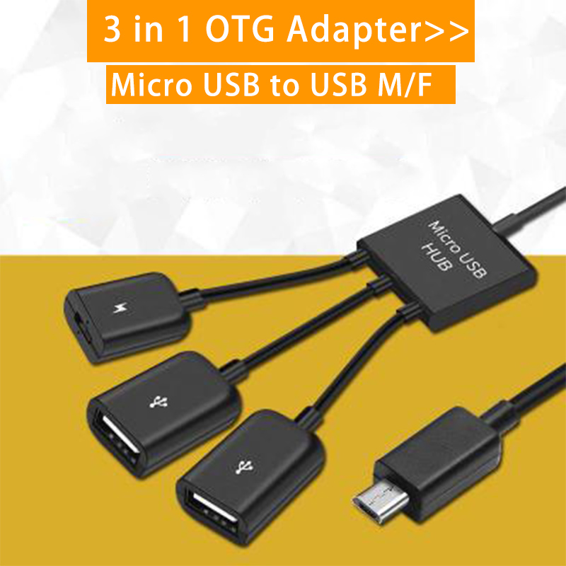 3 In 1 Micro USB OTG Cable Data Transfer Micro USB Male To Female Adapter Game Mouse Keyboard Adapter Cable For Samsung Huawei