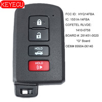 Toyota Corolla Camry Avalon 용 KEYECU 스마트 키 8A 2001 2002 2003 - 2006 FCCID: HYQ14FBA - 281451- 0020   P/N: 89904-06140