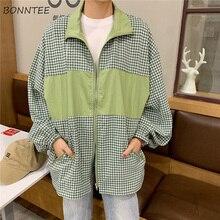 מעילי נשים משובץ BF קוריאני Harajuku Ulzzang סגנון ארוך שרוול מזדמן נשים בסיסי מעיל כל התאמה באיכות גבוהה Loose טרנדי