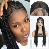 RONGDUOYI Long Black Hair Braided Box Braids Wig Heat Resistant Synthetic Lace Front Wigs for Women 13X6 Fiber Cosplay Lace Wig