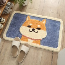 Cartoon Akita Flocking Carpet Mats Home Bathroom Door Bathroom Mats Absorbent Mats Bathroom Anti-slip Mat cute cartoon bathroom mat absorbent home environmental protection flocking mat door mat bedroom anti slip rug