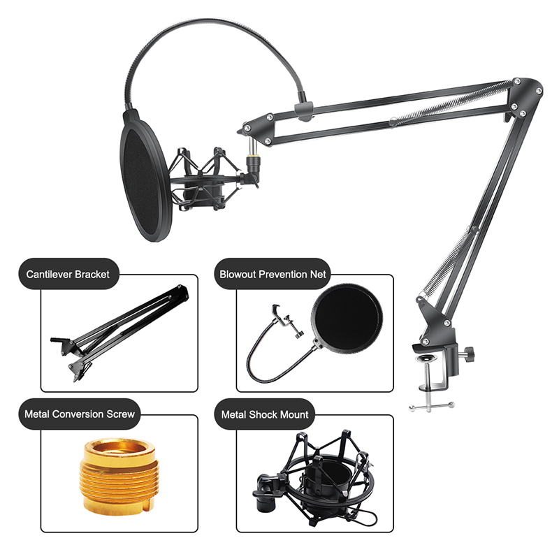<font><b>BM</b></font> 800 Suspension Scissor Arm Microphone Mic Stand BM800 Clip Holder and Table Mounting Clamp Pop Filter Windscreen Mask Shield image