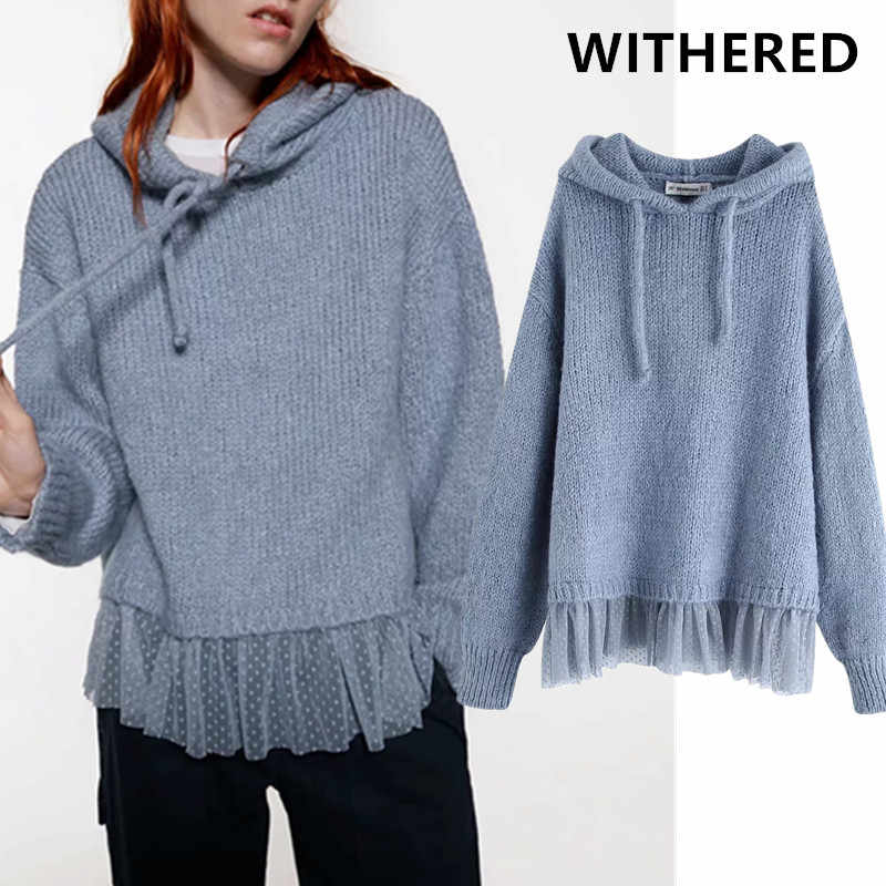 Withered 2019winter sweaters women pull femme england style vintage tassels oversize hooded hooded sweaters women pullovers tops