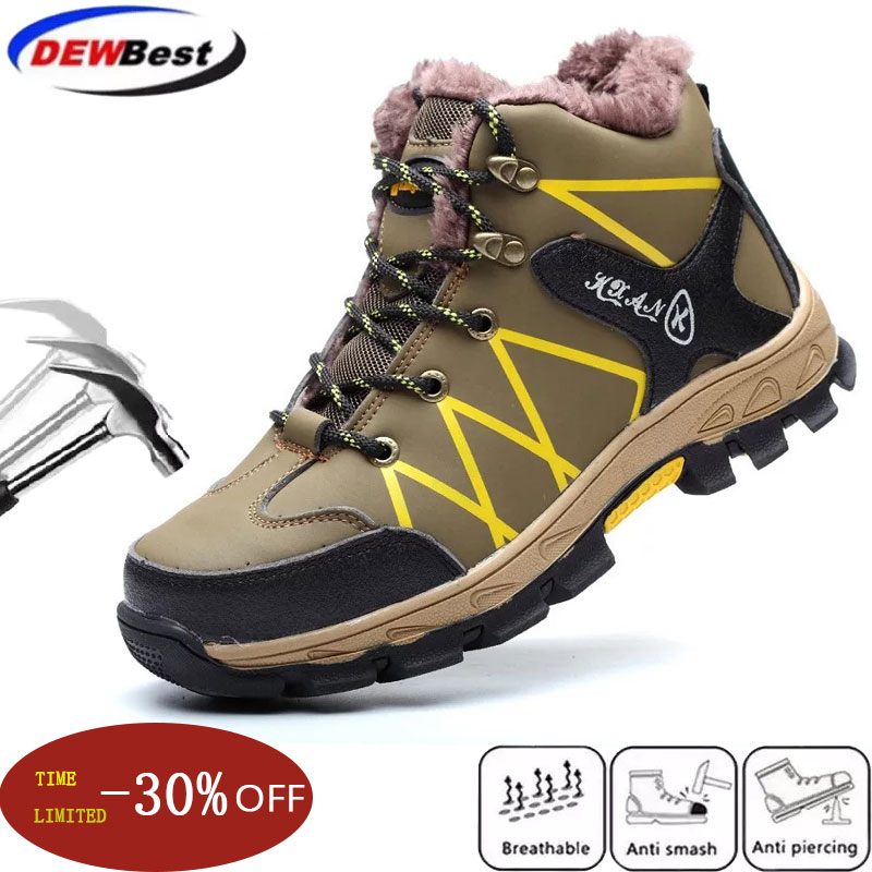 Waterproof Winter Safety Shoes Boots for Men Casual Snow Warm Fur Work Indestructible Boots Steel Toe Men's Boots Black 45 46 47 image