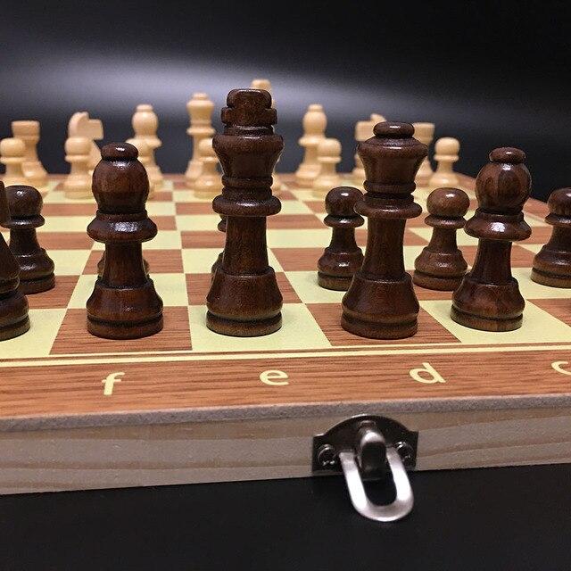 Jeu d'échecs en bois Backgammon dames 3 en 1 jeu d'échecs de voyage pièces d'échecs en bois et planche pour enfants adulte 3