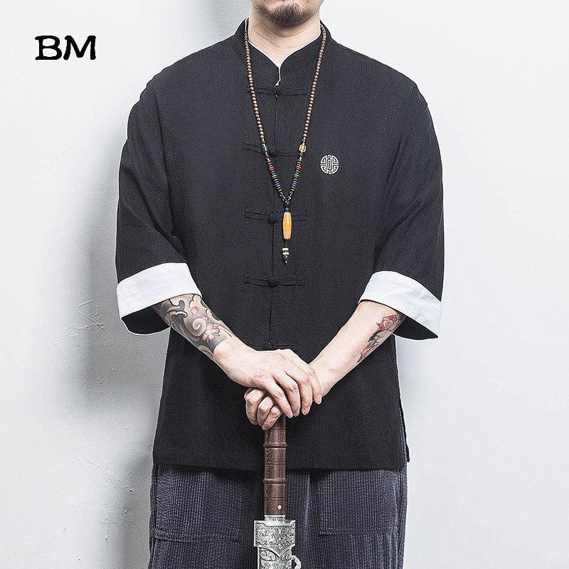 Chinese Style Shirt Ancient Style Wu Tang Clan Cotton Linen Buckle Short Sleeves Men Solid Color Tang Suit Summer Clothing