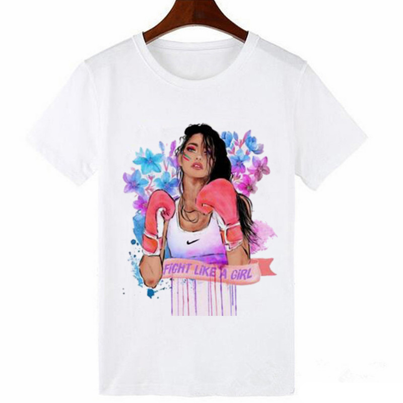 Women's Boxing Girl Print Harajuku T-Shirt Pursuit Of Dream Girl 0-Collar Short Sleeve T-shirt Women's Street Clothing T-shirt