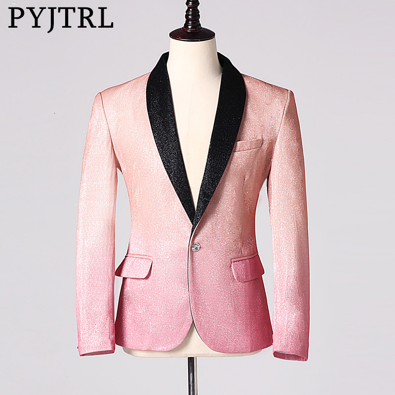PYJTRL Mens Stylish Shiny Champagne Pink Fashion Casual Blazers Wedding Grooms Prom Party Dress Suit Jacket Singers Coat Costume