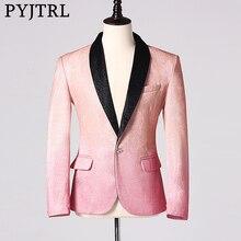 ملابس رجالي غير رسمية PYJTRL أنيقة وردية شامبانيا لامعة موضة فستان حفلات زفاف العرسان بدلة بدلة جاكيت معطف للمغنين