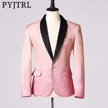 Pyjtrl dos homens à moda brilhante champanhe rosa moda casual blazers casamento noivos formatura vestido de festa terno jaqueta cantores casaco traje
